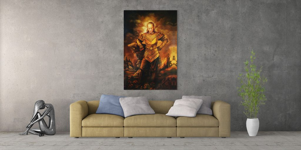 Vigo the Carpathian painting in front of sofa